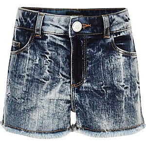 Girls blue acid wash denim boyfriend shorts
