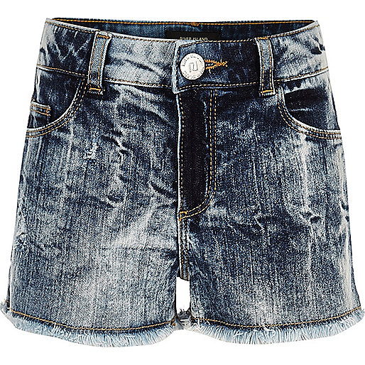 Girls blue acid wash denim boyfriend shorts