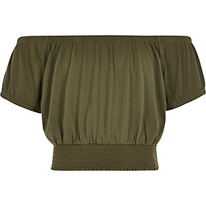 Girls khaki green bardot crop top