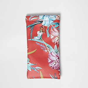 Girls red floral sunglasses case