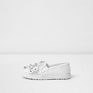 Mini girls white 3D floral mesh plimsolls
