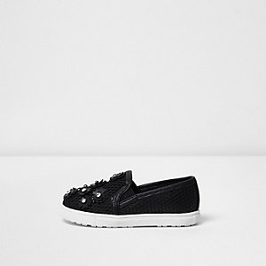 Mini girls black 3D floral mesh plimsolls