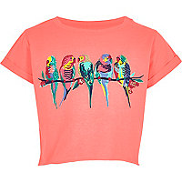 Girls pink cropped budgie embroidered T-shirt