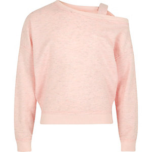 Girls pink one shoulder strap sweatshirt