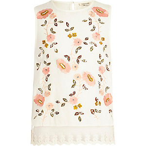 Girls white floral embroidered shell top