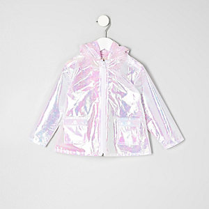 Mini girls pink iridescent rain coat