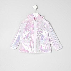 Mini - roze reflecterende regenjas voor meisjes