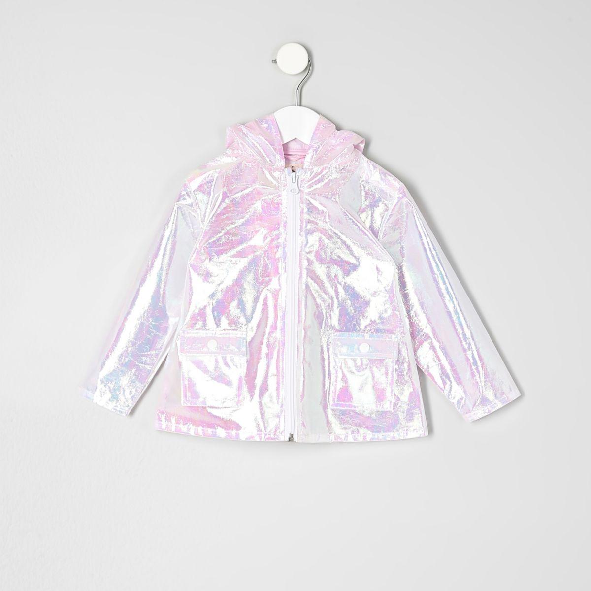 Mini girls pink iridescent rain coat
