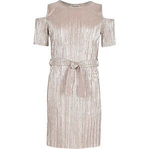 Girls metallic pink cold shoulder dress