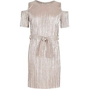 Girls metallic pink cold shoulder dress