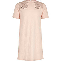 Girls blush pink western T-shirt dress