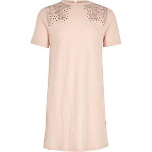 Girls blush pink western T-shirt dress