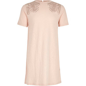 Robe t-shirt rose poudré style western pour fille