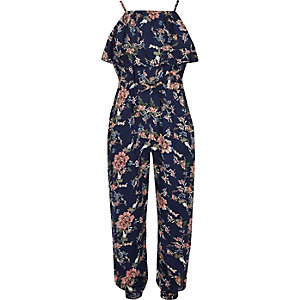 Girls blue floral print frill cami jumpsuit