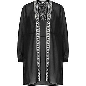 Girls black sequin embellished duster jacket