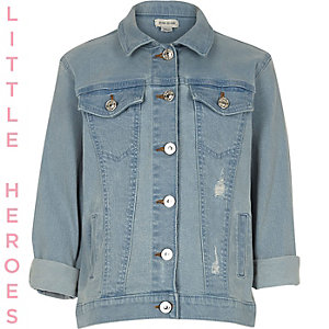 Girls blue distressed slogan denim jacket