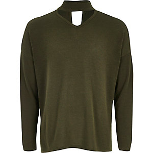 Girls khaki slouch knit choker sweater