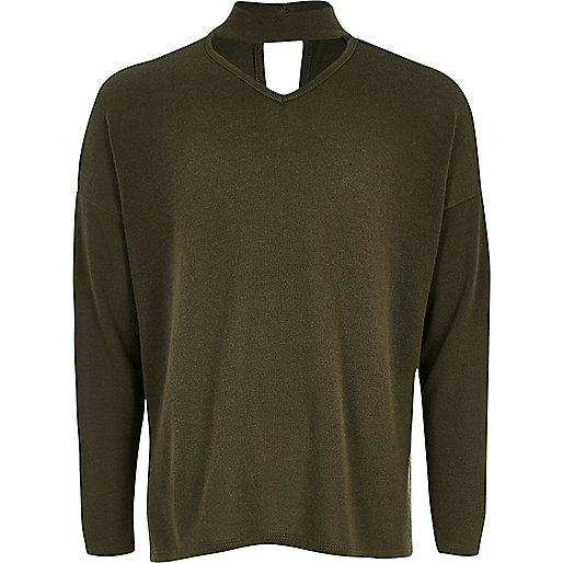 Girls khaki slouch knit choker sweater
