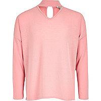 Girls pink slouch knit choker sweater