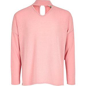 Roze comfortabele gebreide chokerpullover voor meisjes