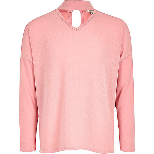 Girls pink slouch knit choker jumper