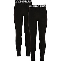 Girls black branded leggings pack