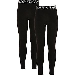 Lot de leggings griffés noirs pour fille