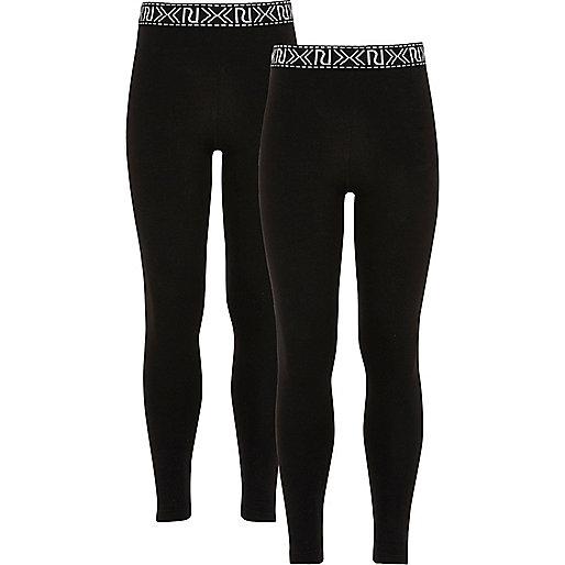 Girls black branded leggings pack