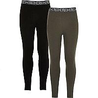 Girls black and khaki leggings two-pack