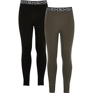 Leggings in Schwarz und Khaki, Zweierpack