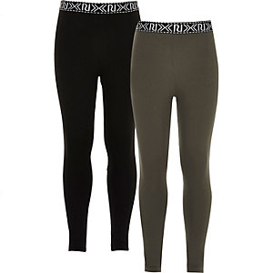 Girls black and khaki leggings two-pack