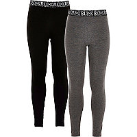 Girls black and grey leggings two-pack
