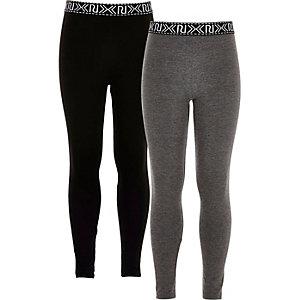 Lot de deux leggings un noir et un gris pour fille
