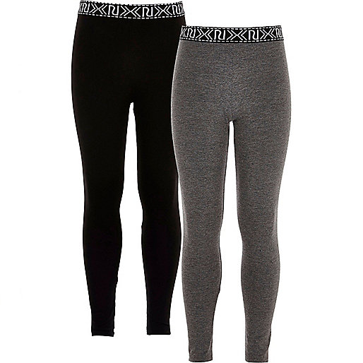 Girls black and grey leggings two-pack