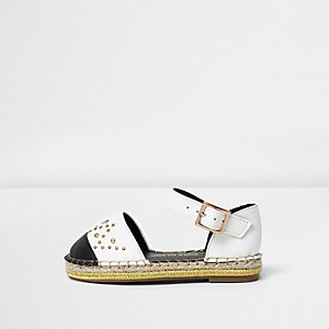 Mini girls white studded espadrille sandals