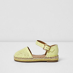Mini girls yellow laser cut espadrilles