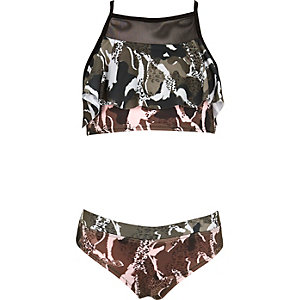 Girls khaki camo print shelf bikini set