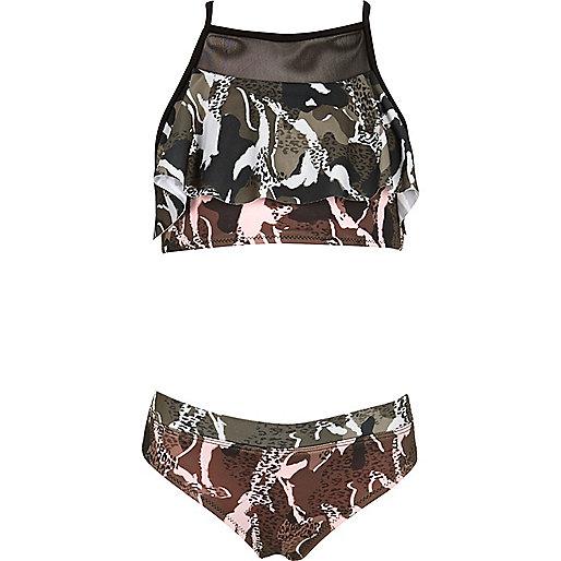 Girls khaki camo print shelf bikini set