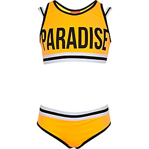 Girls orange 'paradise' crop top bikini
