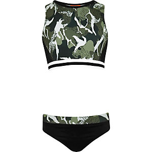 Girls khaki green camo print crop top bikini
