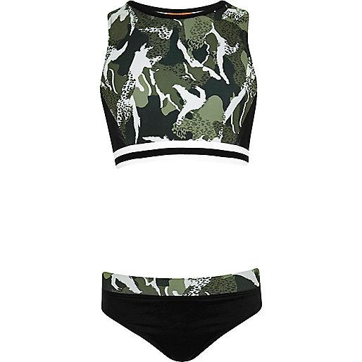 Girls khaki green camo print crop top bikini