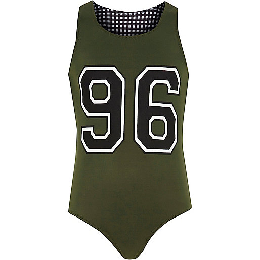 Girls khaki 96 reversible swimsuit