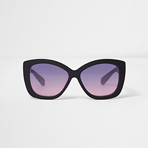 Girls black oversized cat eye sunglasses
