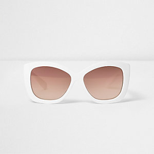 Girls white oversized cat eye sunglasses