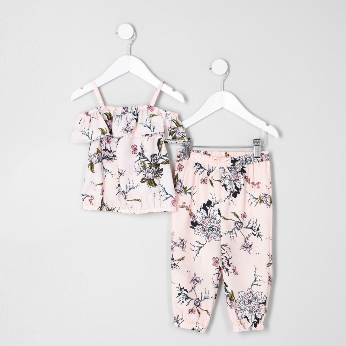 Ensemble pantalon de jogging et haut imprimé fleuri pour mini fille