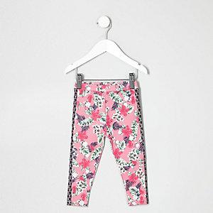 Mini - Pinkfarbene Leggings für Mädchen mit Tropenmuster