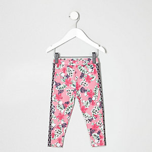 Legging à imprimé tropical rose mini fille