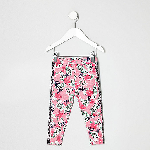Mini girls pink tropical print leggings