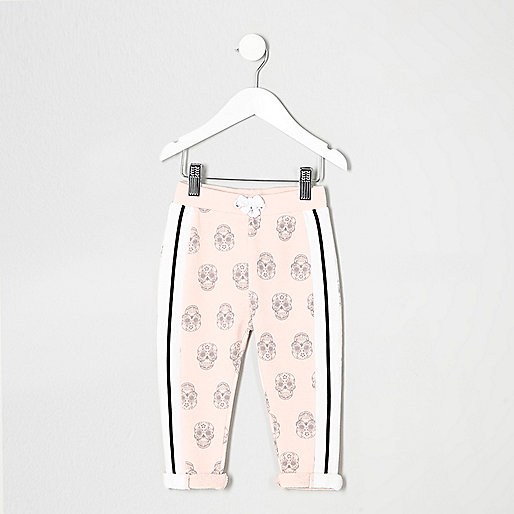 Mini girls pink skull print joggers