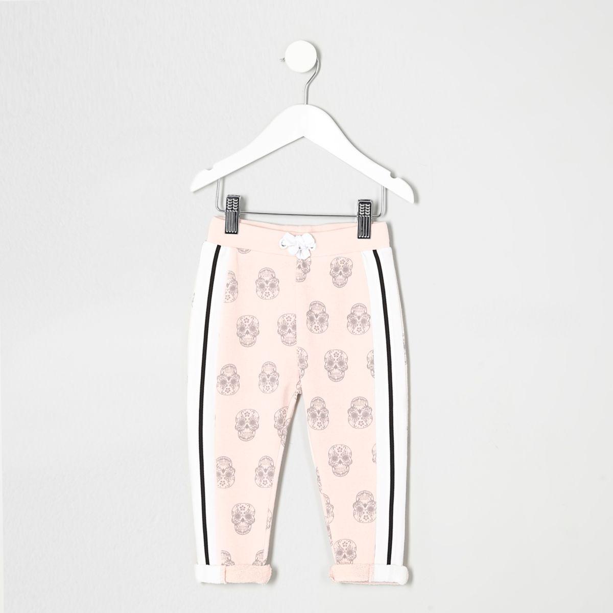 Mini girls pink skull print joggers